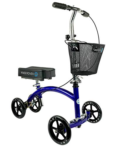 KneeRover Deluxe Steerable Knee Cycle Knee Walker  Scooter Crutch Alternative in Blue