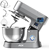 Stand Mixer, ACA 10+P Speed 800W Electric Kitchen Mixer with 6.5 Qt Stainless Steel Bowl, LCD Timer Food Mixer for Baking with Dough Hook, Wire Whip & Flat Beater, Splash Guard for Home Cooking