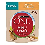 Purina ONE Mini Dental Pienso para Perro Adulto Pollo y Arroz 8 x 800 g
