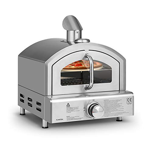 KLARSTEIN Pizzaiolo Neo - Forno a Gas per Pizza, incl. Pietra Refrattaria da 33 cm () e Griglia, Termometro Integrato, Acciaio Inox 304, Facile da Pulire, Argento