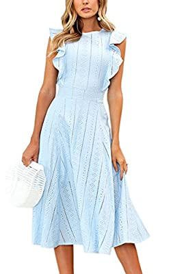 Please check the size chart carefully with your body measurement and then choose your size. Material: Cotton. Soft material, light and comfortable, a must-have dress in your wardrobe. Design: Ruffle Sleeves, Zipper in the back, A-line Style, Midi Dre...