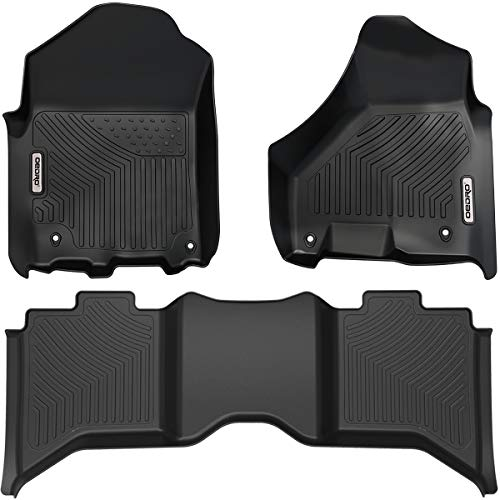 oEdRo Floor Mats Compatible for 2019 Dodge Ram 1500 Classic Crew Cab, 2012-2018 Dodge Ram 1500/2500/3500 Crew Cab, Unique Black TPE All-Weather Guard Includes 1st and 2nd Row: Full Set Liners
