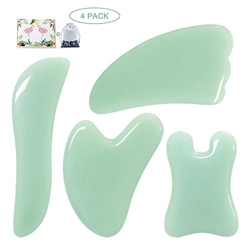 Guasha Massage Tool,Natural Jade Gua Sha Board, 4PCS Guasha Stone Scraping Massage Sets for SPA Acupuncture Physical Therapy Muscle Knots Facial Caring Point Treatment Tissue Lymphatic Drainage