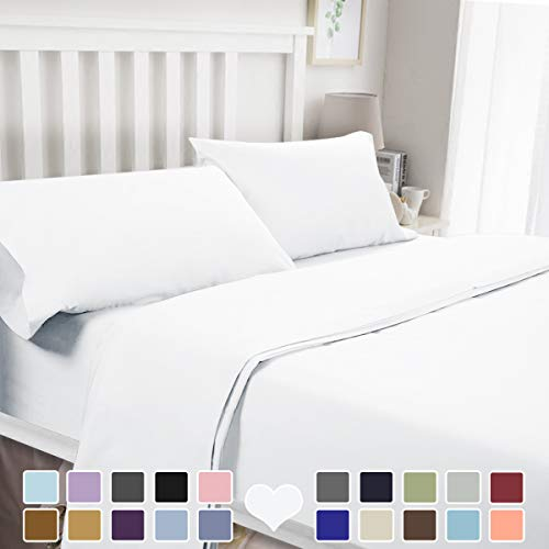 BYSURE 4 Pieces Luxury Bed Sheet Set - Soft Durable Brushed Microfiber 1800 Thread Count Bedding Sheets with 15 Inch Deep Pockets,Wrinkle & Fade Resistant (Queen, White)