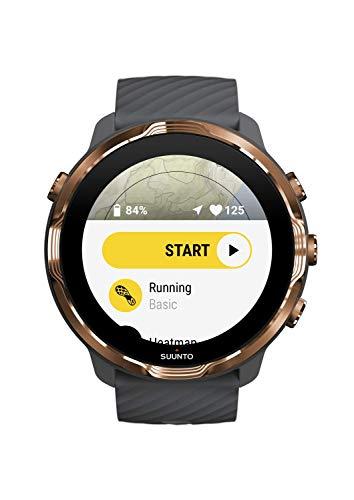 Suunto 7 - Smartwatch para Deporte y Fitness, Unisex, Correa de Silicona, Pantalla Táctil, Gorilla Glass, Gris/Cobre, Acero/Poliamida (SS050382000)