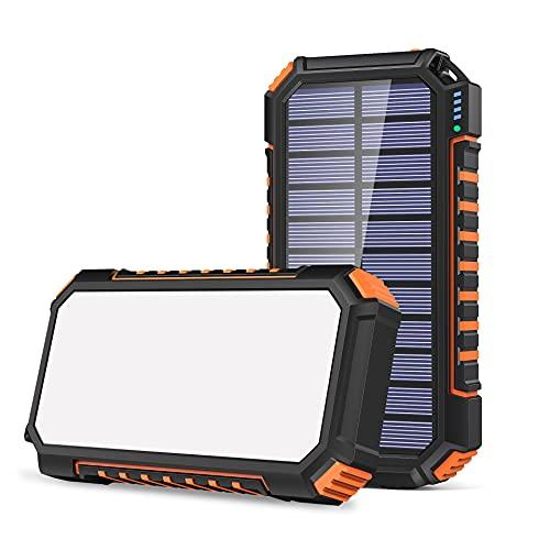 Chargeur Solaire 26800mAh, Riapow Batterie Externe Solaire avec 60 LEDs Brillantes et 3 Sorties USB...