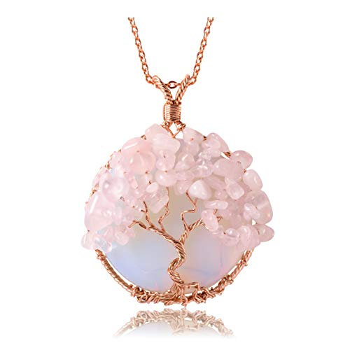Top Plaza Healing Crystal Synthetic Opal Rose Quartz Round...