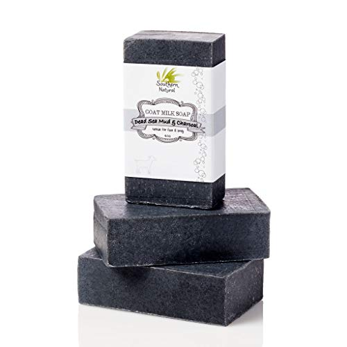 Activated Charcoal Soap Bars With Dead Sea Mud - For Dry Sensitive Skin. All Natural Face Soap & Body Soap. Made With Goat's Milk & Peppermint Essential Oil. For Men, Women & Teens. (3 BARS 4 oz EACH)