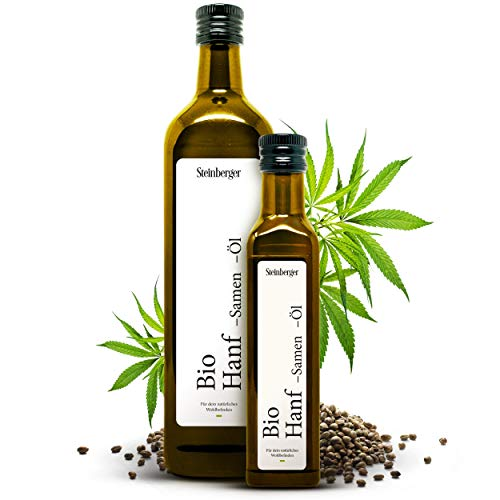 Bio Hanföl 750ml Glasflasche mit Dosierer   100% rein & kaltgepresst   Hanfsamenöl mit nussigem Geschmack aus nachhaltigem Anbau