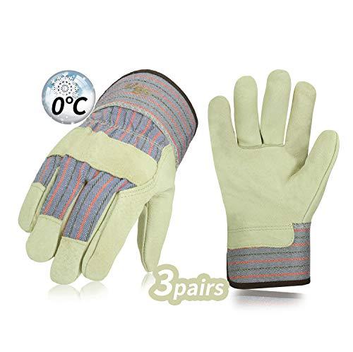 Vgo 3 paia, circa 0℃, guanti da lavoro invernali in pelle di alta qualità, guanti caldi,...