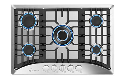 "Empava 30"" 5 Italy Sabaf Burners Gas Stove Cooktop Stainless Steel EMPV-30GC5B70C, 30 Inch"