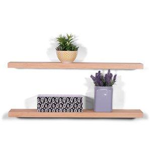 DAKODA LOVE 36' x 5.25' Clean Edge Solid Wood Floating Shelves   Premium Handmade Quality   Easy Hidden Bracket Wall Mount   Modern Rustic Pine   Set of 2 (Natural)