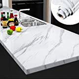 Yenhome Large Size Jazz White Marble Counter Top Covers Peel and Stick Wallpaper for Kitchen Backsplash Shelf Liner for Kitchen Cabinets Bathroom Wall Decor Wallpaper Stick and Peel 24' x 118'