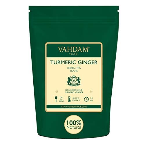 VAHDAM, Kurkuma-Ingwer-Kräutertee Loose Leaf | Set mit 2 Stück à 100 g (100 Tassen) | Indiens Wundergewürz | Kurkuma-Tee & Ingwer-Tee | 100% natürlicher Tisane Tee | Brauen Sie als heißer oder Eistee