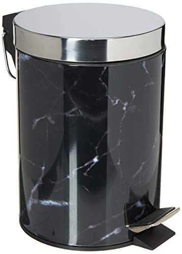 Home Basics (Black Faux Marble 3 Liter Step Waste Trash Can for Bathroom, Kitchen, Powder Room with Built-in Metal Handle & Removable Plastic Liner Bin, Garbage