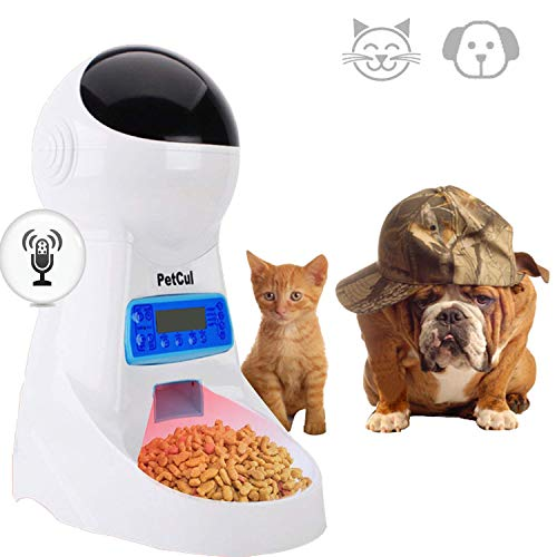 PetCul Automatic Cat Feeder 3L Pet Food Dispenser Feeder for Medium & Large Cat Dog4 Meal, Voice Recorder & Timer Programmable, Portion Control