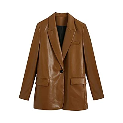 Women 2020 Fashion Faux Leather Single Button Blazers Coat Vintage Long Sleeve Pockets Female Outerwear Chic Tops High quality Brand new Comfortable to wear