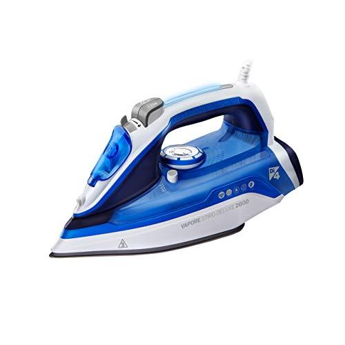 Di4 Vapore Stiro Deluxe 2600-Ferro-da-stiro-a-vapore, 2600 W, Piastra Nano Ceramica ad Alta scorrevolezza, Blu/Bianco, 307 X 125 X 163