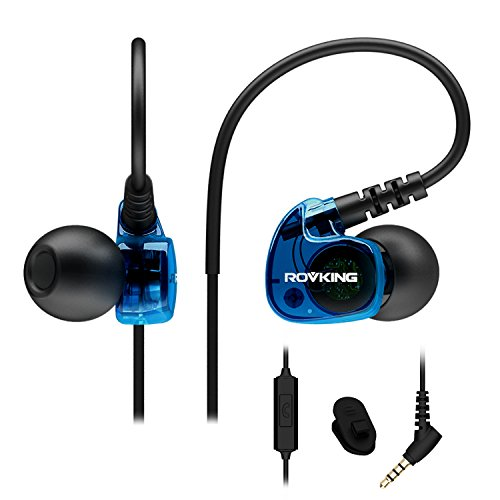 ROVKING Sport Headphones Wired Sweatproof, Over Ear Earbuds for Running Gym Workout Exercise Jogging, Stereo in Ear Earphones with Mic, Noise Isolating Earhook Ear Buds for Cell Phone MP3 Laptop Blue