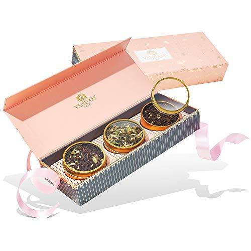 VAHDAM, Sortiertes Tee-Geschenkset - Erröten, 3 Tees in einer Tee-Sampler-Geschenkbox | 100% natürliche Zutaten - Geburtstagsgeschenke für Frauen | Geschenke für Mama & Oma