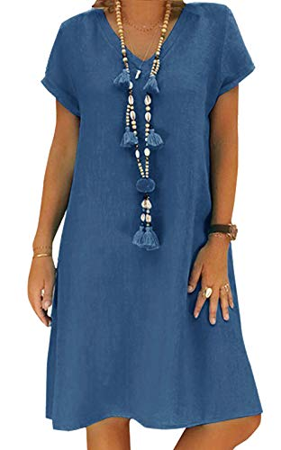 Yidarton Sommerkleid Leinen Kleider Damen V-Ausschnitt Strandkleider Einfarbig A-Linie Kleid Boho Knielang Kleid Ohne Zubehör(Blau,2XL)