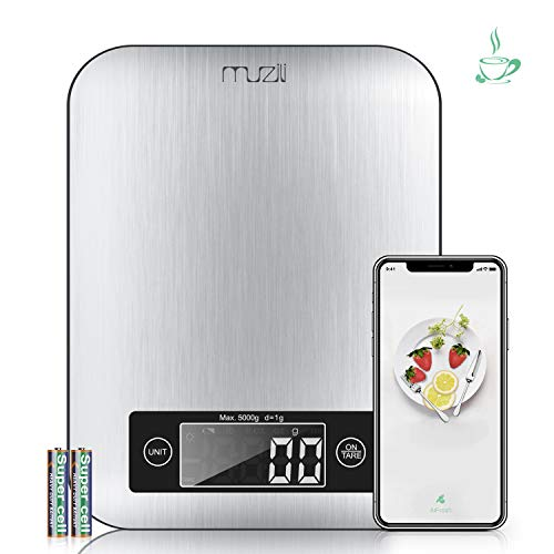 Mothers Day GiftsMuzili Smart Food Scale,3 in 1 Function as Digital kitchen/Coffee/Nutrition Scale with Nutritional Calculator and Timer, Using APP to Track Calorie Protein Fat for kids, mom,elder