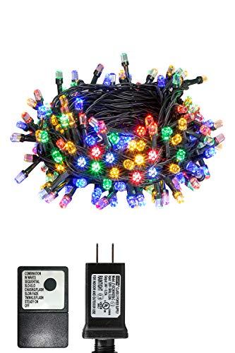 PEIDUO Christmas Fairy String Lights Plug Powered 30V 8 Modes 200...