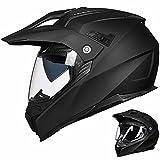 Auboa Full Face ATV Dual Sport Helmets for Adults Motorcycle, Dirt Bike Helmet Motocross MTB Off-Road Casco DOT(Matte Black,L)