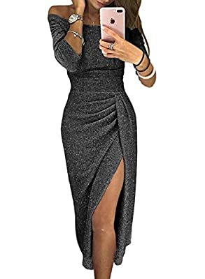 Sequin Glitter Off Shoulder Bodycon Party Midi Dress for Women Sexy High Slit 3/4 Sleeve Ruched Ladies Dress STYLE DESIGN -- Fashion party cocktail dress comes with sexy off shoulder, front high-slit, ruched detail and high waist wide waistband, soli...