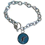 Officially licensed MLB product 3/4 inch round charm 8 inch adjustable bracelet Chrome plated bracelet and charm backing Perfect gift idea