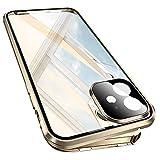 Leaderfish 両面ガラス 360°全面保護 iPhone 12 Pro Max ケース アルミバンパー クリア フルカ……