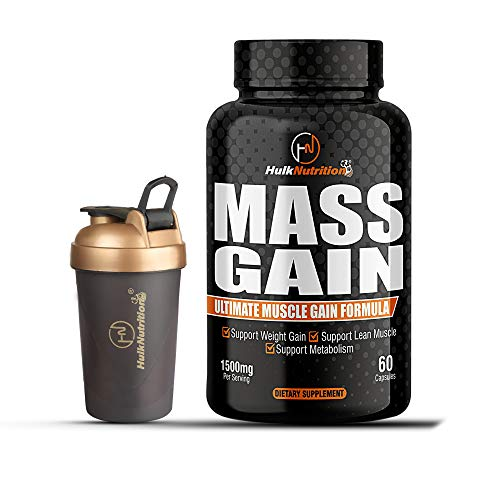 HulkNutrition Bulk Gain Mass & Weight Gainer Capsule for Fast Weight & Muscle Gain, Daily Muscle Building Weight Lifters Supplement for Muscle Growth, Stamina & Strength, For Men & Women - 60 Cap.