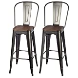 VIPEK 30 Inches Bar Stools Patio Bar Chairs Bar 30' Height Dining Stools with Solid Wood Top Seat Set of 2 High Back Metal Barstool Side Dining Chairs Bistro Pub Cafe Kitchen, Matte Black