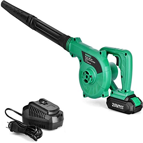 K I M O. Cordless Leaf Blower 20V Lithium 2-in-1 Sweeper/Vacuum 2.0 AH Battery for Blowing Leaf, Clearing Dust & Small Trash,Car, Computer Host,Hard to Clean Corner