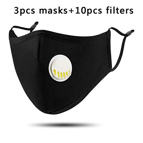 ZIQI Maschere di Polvere Pieghevoli 3pcs - 10pcs Pm2.5 Filtro, Anti Dust Mask con Breathing Valve Face Mouth Mask, Moda Riutilizzabile Maschera Unisex Outdoor