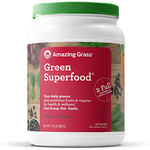 Amazing Grass Green Superfood: Super Greens Powder with Spirulina, Chlorella, Digestive Enzymes & Probiotics, Berry, 100 Servings 1
