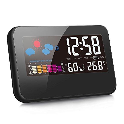 デジタル湿度計 温度計 LCD大画面 温湿度計 時間/月日/曜日/最高最低温湿度/温度傾向図表示 アラームタイム...