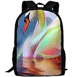 TTmom Zaini/Zaino Casual,Borse a Zainetto, Beautiful Swan Shining Like A Rainbow Print Custom Casual School Bag Backpack Multipurpose Travel Daypack