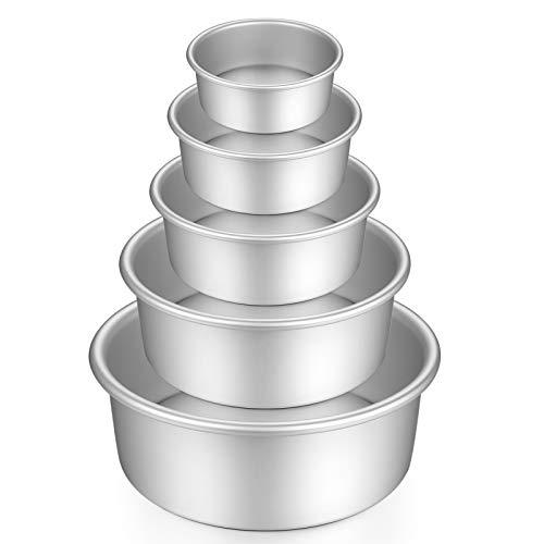 Gesentur Moldes Para Pasteles, Redondo Aluminio Anodizado Molde de Horno Antiadherente Set, Base Desmontable, Conveniente Para Boda Cumpleaños Pastel, 5 Piezas (5'/6'/7'/8'/9')
