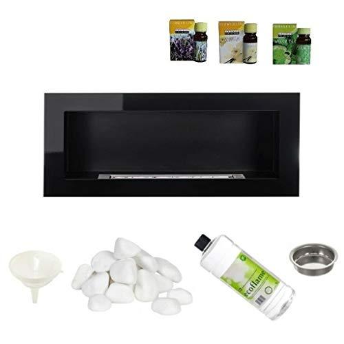 Black Gloss Bio Ethanol Fireplace 900x400 Design Eco + Accessories