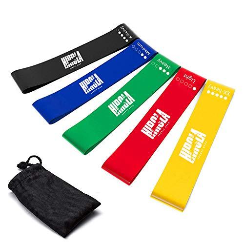 Hirola ligas de resistencia para ejercicio. Set de 5 ligas de resistencia, cada una con diferente grosor y color.