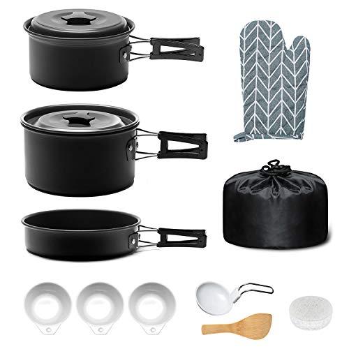 Keymao Campeggio Pentole, Camping Stoviglie Kit Camping Cookware Kit Utensili da Cucina Set per Campeggio per attivit all'Aperto, Escursionismo, Trekking,Campeggio