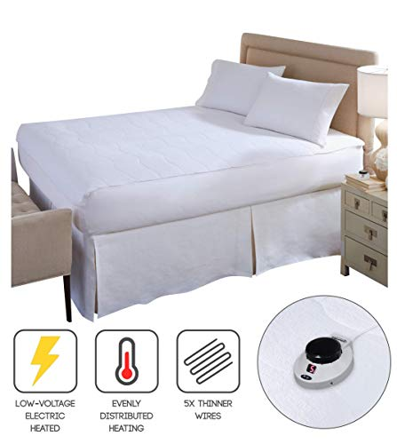 Perfect Fit SoftHeat | Smart Heated Electric Mattress Pad with Safe & Warm Low Voltage Technology, Micro-Plush Top, Queen, White