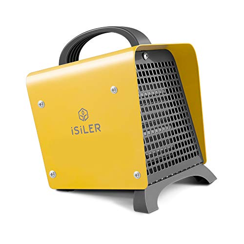 ISILER Space Heater, 1500W Portable Indoor Heater, Ceramic Space Heater Adjustable Thermostat Tip-Over Overheat Protection, Hot Cool Fan Electric Heater for Home Office Garage with ETL Certified