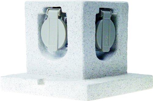 Smartwares GL40 Steingarten-Steckdosenleiste – 4 geerdete Dosen – 3 Meter Neoprenkabel, Würfel