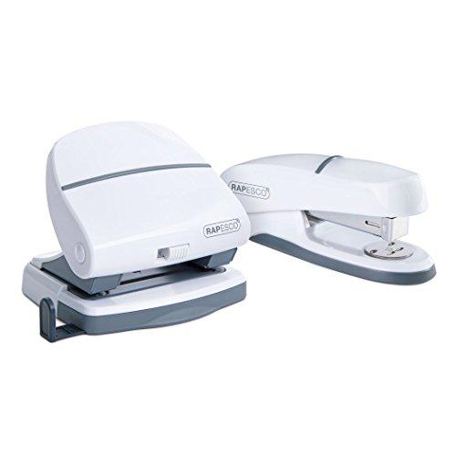 Rapesco 1275 Cucitrice da Scrivania P20 Shimma e Perforatrice P30 a 2 Fori, Bianco