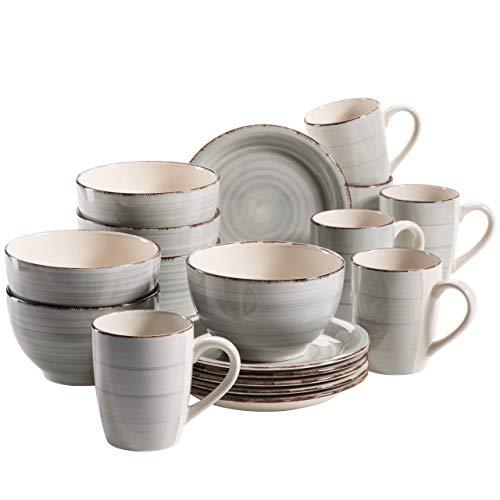 MÄSER 931492 Bel Tempo II Frühstück-Service für 6 Personen im Vintage Look, handbemalte Keramik, 18-teiliges Geschirr-Set, Blau, Steingut