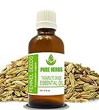 Pure Herbs Aceite esencial de hinojo, semilla (FOENICULUM VULGARE) puro y...