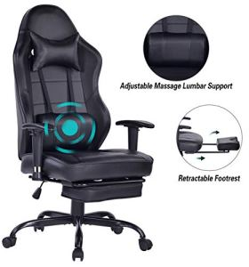 Blue Whale Big and Tall Gaming Chair with Massage Lumbar Support,Metal Base and 3D Aluminum Alloy Armrest Racing PC Computer Video Game Chair High Back PU Leather Office Desk Chair with Headrest Black