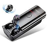 Auriculares Bluetooth In Ear 5.0 Auriculares Inalambricos Bluetooth con Microfono Cascos 6000mAh Linterna LED y Hi-Fi Estéreo CVC8.0 Reducción Ruido/210H/Doble Micrófono/IPX6/Carga Smartphone